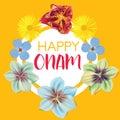 Happy Onam. Flower greetings for South Indian Festival Onam. Vector illustration