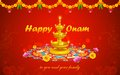 Happy onam illustration of decoration with diya and rangoli Stock Image