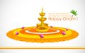 Happy onam illustration of decoration with diya and rangoli Royalty Free Stock Images