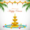 Happy onam illustration of decoration with diya and rangoli Stock Photos