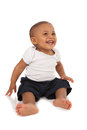 Happy one year old african american baby boy on isolated background Royalty Free Stock Photo