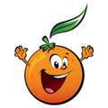 A happy orange waving its hands Royalty Free Stock Images
