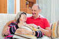 Happy ordinary mature couple together portrait of Royalty Free Stock Image