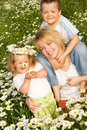 Happy outdoors spring family Royalty Free Stock Image