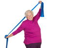Happy overweight senior exercising Stock Images