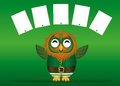 A happy owl with a beard in a suit and hat on St. Patrick`s day