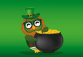 A happy owl with a pot of gold coins in a national costume