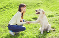 Happy owner woman with labrador retriever dog trains Royalty Free Stock Photo