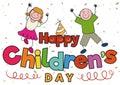 Happy Pair of Kids Celebrating Children`s Day, Vector Illustration