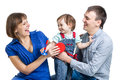 Happy parents play with kid daughter Stock Photography