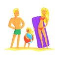Happy parents and their son resting on the beach, summer holiday vector Illustration