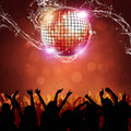 Happy party crowd disco ball and people dancing on the sisco floor Stock Photography