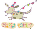 Happy party greetings card funny jumping dog illustration Stock Images