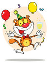 Happy party tiger character with bubbly Stock Photography