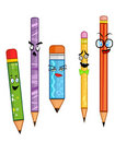 Happy Pencils Pack (5-in-1) Stock Photos