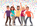 Happy people celebrate an important event. Joyful emotions. Vector illustration