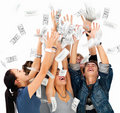 Happy people celebrating with money raining Stock Photography