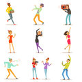 Happy people characters celebrating, dancing and having fun at a birthday party set of colorful characters vector