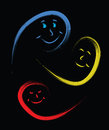 Happy people faces logo in color isolated on black background Royalty Free Stock Image