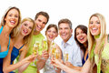 Happy people with glasses of champagne christmas party Royalty Free Stock Images