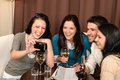 Happy people having fun drink at restaurant Stock Image