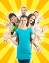 Happy people with spread hands Royalty Free Stock Photography