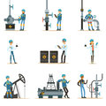 Happy People Working In Oil Industry Set Of Cartoon Characters Working At The Pipeline And Petroleum Extraction