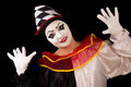 Happy pierrot isolated portrait of a funny clown Stock Photo