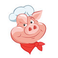 Happy pig chef head cartoon vector illustration pig chef hat pig chef toy tattoo game and costume Stock Photography