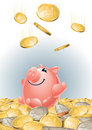 Happy_piggy_bank Fotos de Stock Royalty Free