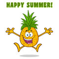 Happy Pineapple Fruit With Green Leafs Cartoon Mascot Character With Open Arms Jumping