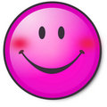 Happy pink smiley face Stock Photos