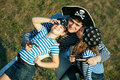 Happy pirate family enjoy themselves Royalty Free Stock Image