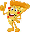 Happy pizza cartoon with thumb up illustration of Royalty Free Stock Images