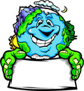 Happy Planet Earth Holding Sign Cartoon Royalty Free Stock Image