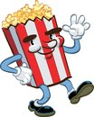 Happy popcorn waving and smiling illustration Royalty Free Stock Photos