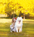 Happy positive child and dog having fun outdoors in warm sunny autumn day Stock Images