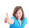 Happy positive girl show thumb up isolated on white background Stock Image