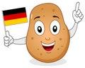 Happy Potato Holding a German Flag