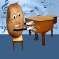 Happy potato plays piano smiling playing a Royalty Free Stock Image
