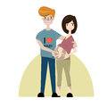 Happy pregnancy concept. Couple pregnant woman and her husband standing together.Vector/Illustration