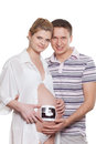 Happy pregnant family with ultrasound picture Stock Images