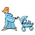 Happy pregnant mother in cyan dress pushing baby boy stroller woman blue take a walk while new born carriage Stock Images