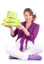 Happy pregnant woman holds boxes with gifts Stock Image
