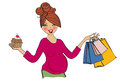 Happy pregnant woman at shopping isolated on white background vector illustration Royalty Free Stock Photo