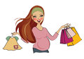 Happy pregnant woman at shopping isolated on white background vector illustration Royalty Free Stock Photography
