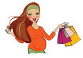 Happy pregnant woman at shopping isolated on white background vector illustration Royalty Free Stock Photos