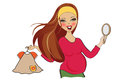 Happy pregnant woman at shopping isolated on white background vector illustration Royalty Free Stock Images