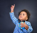 Happy preschooler discovering world Royalty Free Stock Photo