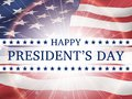 Happy president`s day - poster with the flying flag of the United States of America Royalty Free Stock Photo